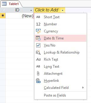 add a date and time field to the table