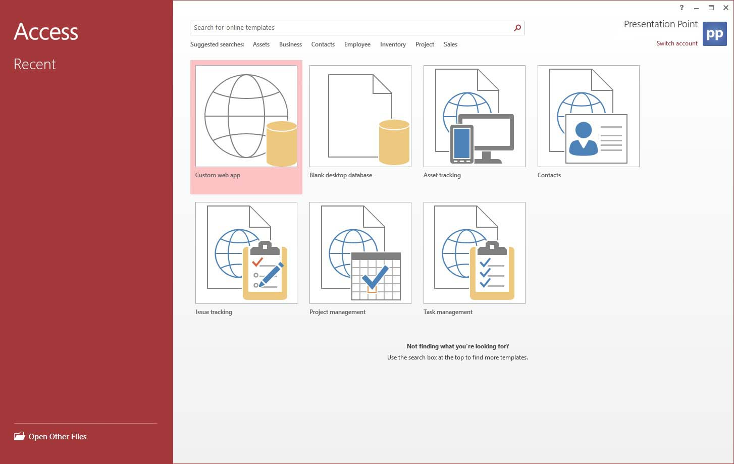 create a new database in microsoft access
