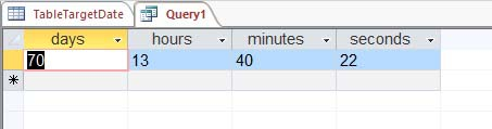 days, hours, minutes and seconds in the query
