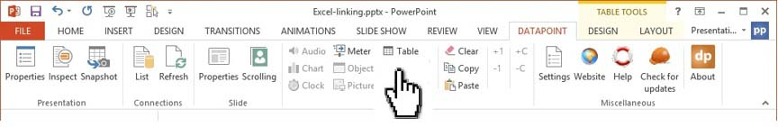 click table in datapoint menu