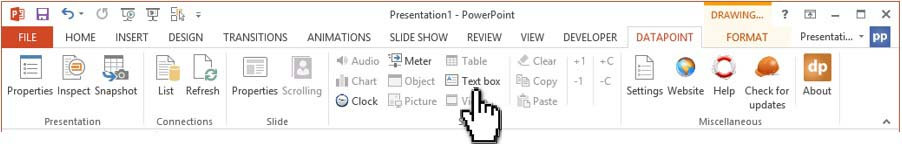 click text box to assign rss feed properties