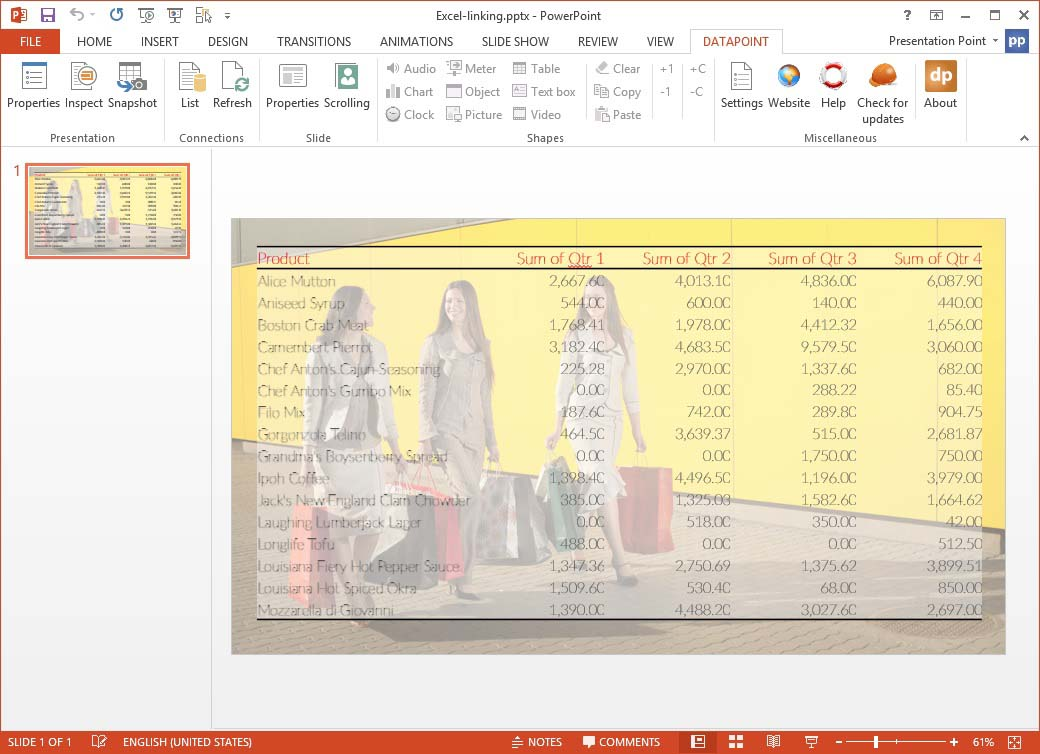 preview linked excel data on slide