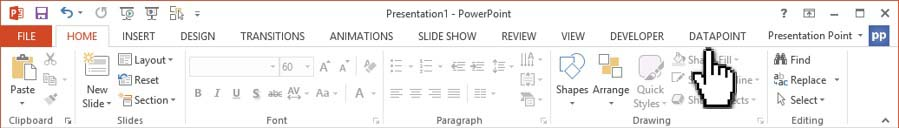 click datapoint in powerpoint menu