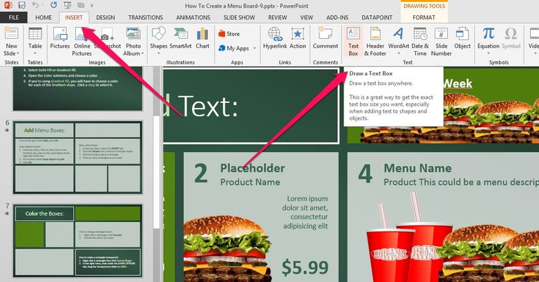 add text box shapes to your powerpoint menu board