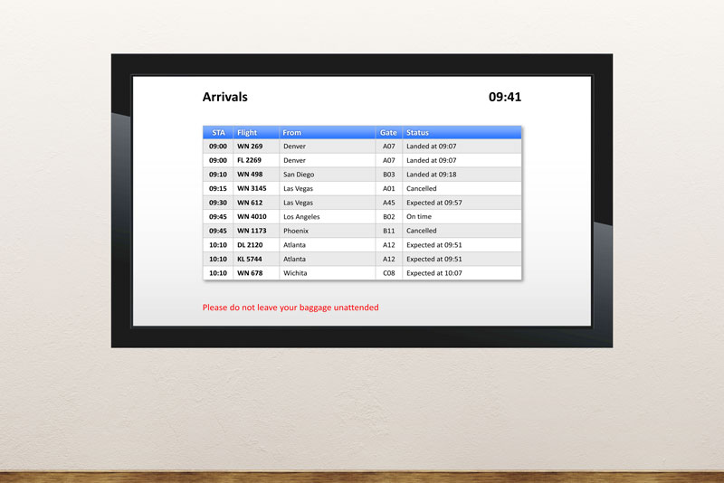 Free digital signage powerpoint template to display flight information like arrivals and departures