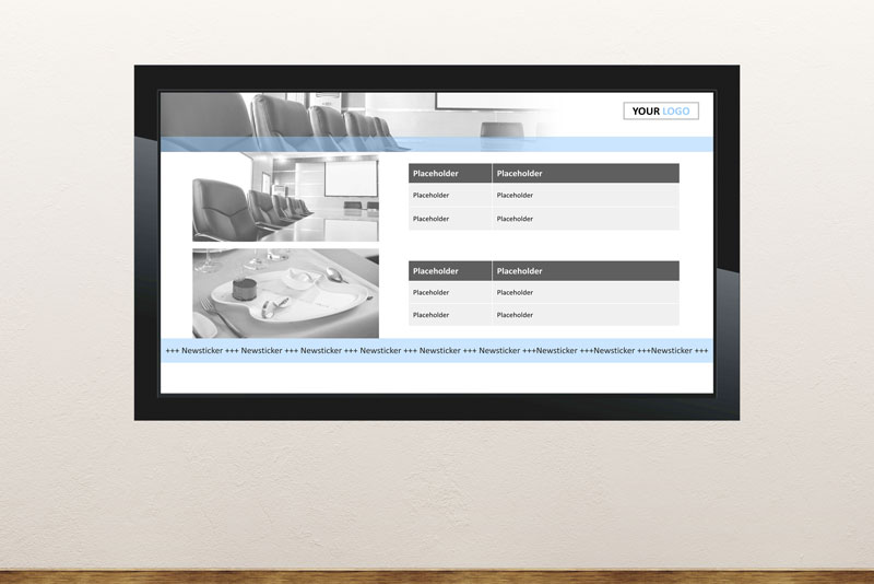 Free digital signage powerpoint template for corporate company communication for announcements, messages, new employees