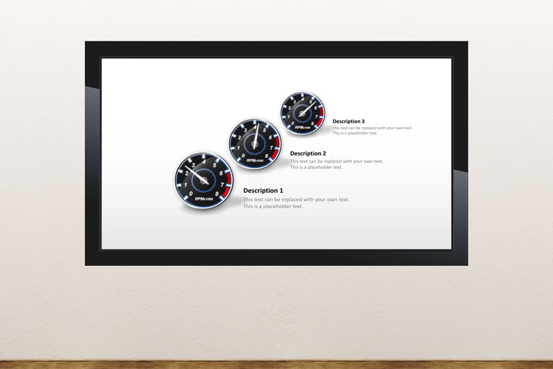 Free digital signage powerpoint template to display dynamic dashboard and meters and gauges