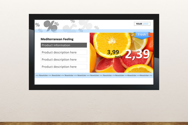 Free digital signage powerpoint template for retail to show products, services and promotions