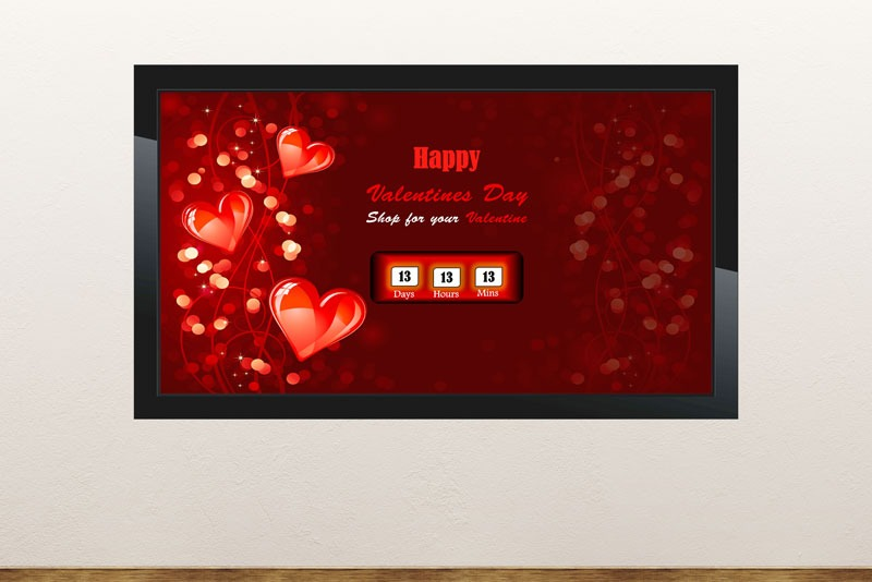 Free digital signage powerpoint template announce and to count down to Valentine