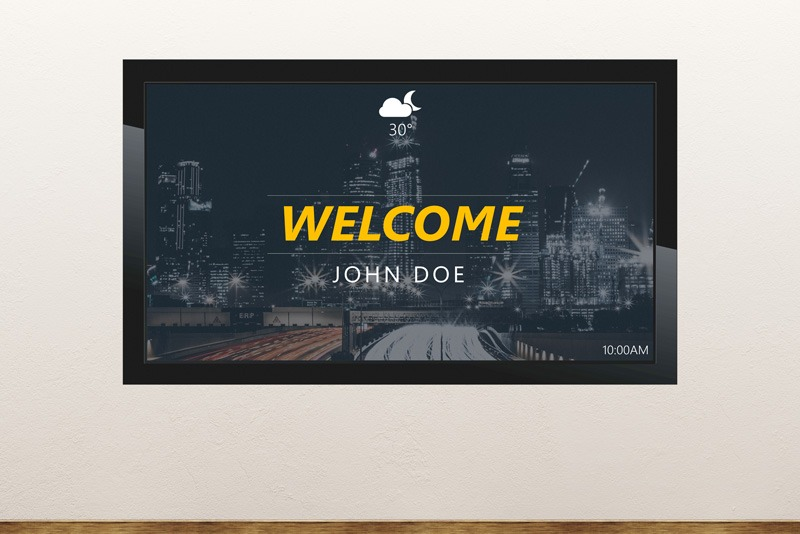 Free digital signage powerpoint template to welcome people and visitors