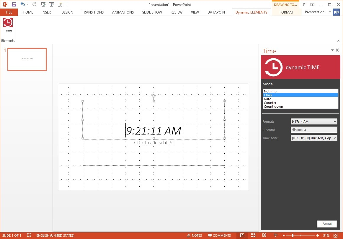 open dynamic time task pane in powerpoint to control the clock properties