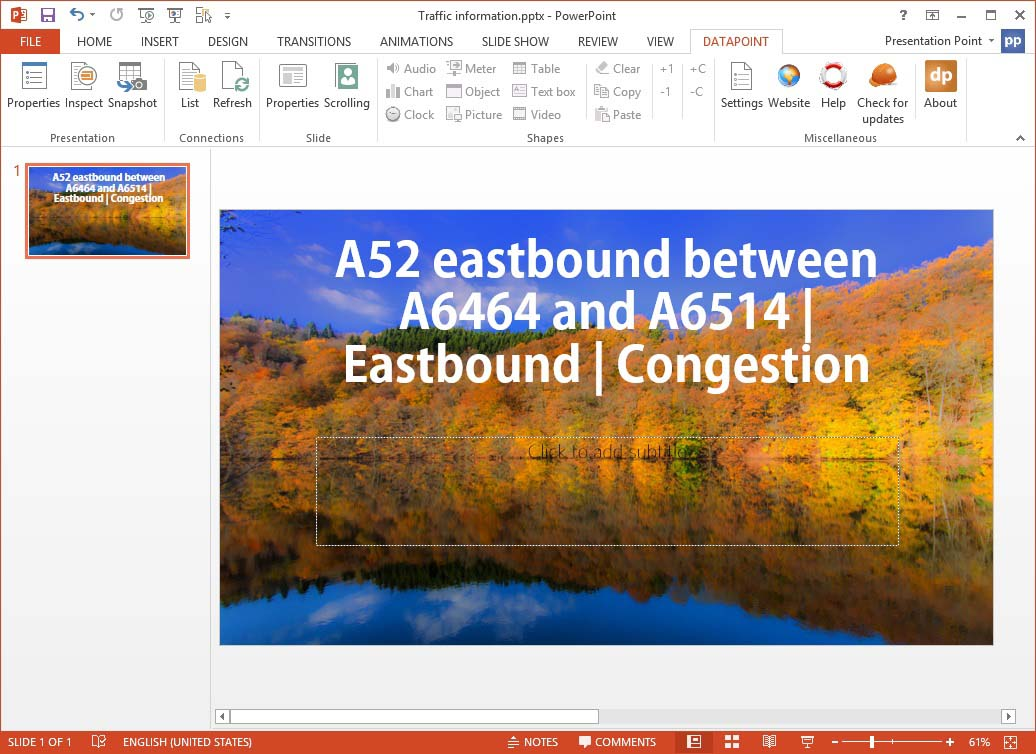 traffic info preview on your slide
