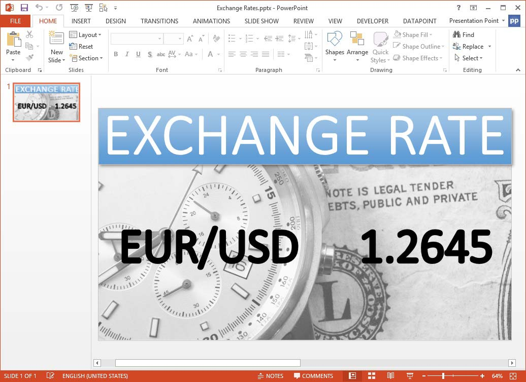 showing euro usd conversion in a presentation