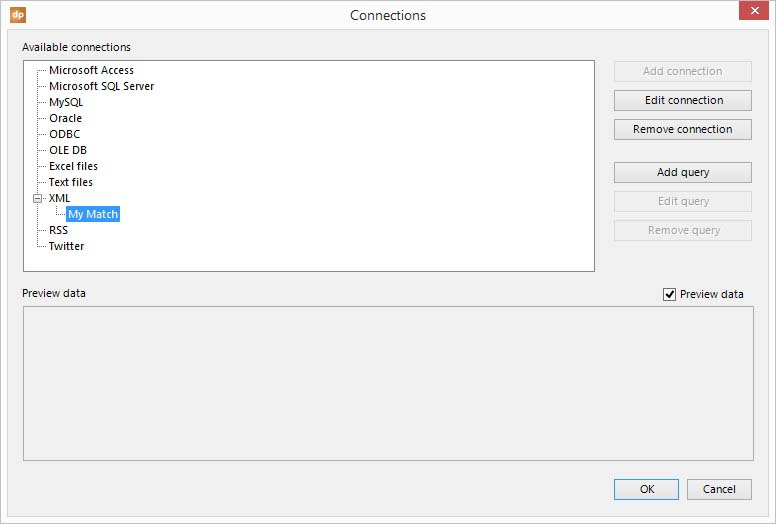 add a data table to the xml connection to get data