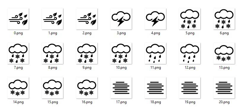 weather icons to display in a picture box