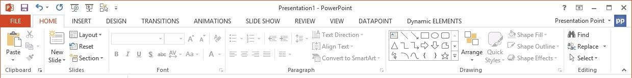 dynamic elements in powerpoint menu
