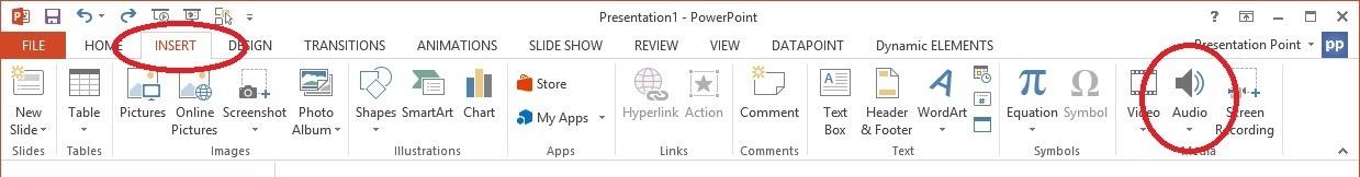 insert audio on powerpoint menu