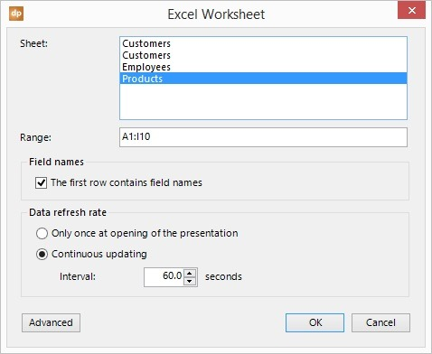 set the excel data import options
