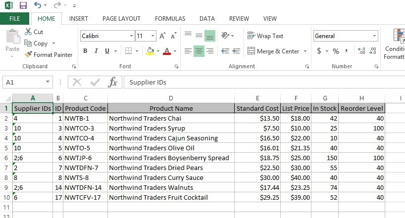 raw stock information in excel document
