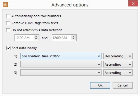 local data sort options, column names and sequence to sort