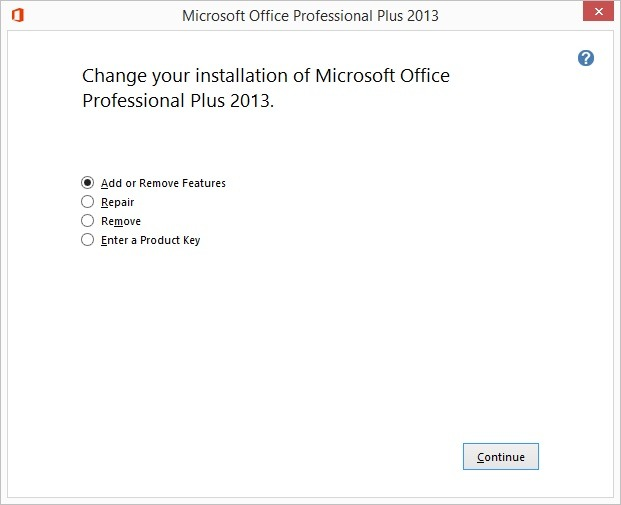 open microsoft office setup and add features