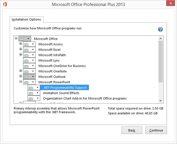 navigate to powerpoint and then .net programmability support