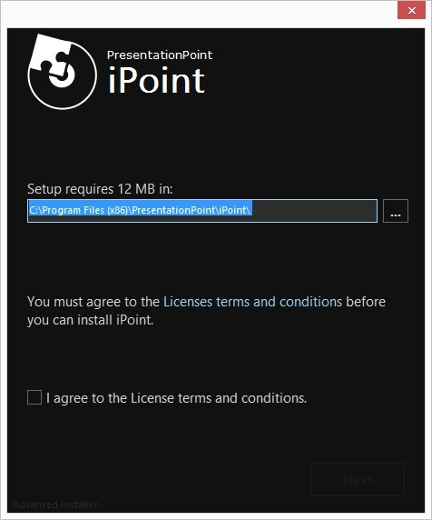 welcome screen of the ipoint installation