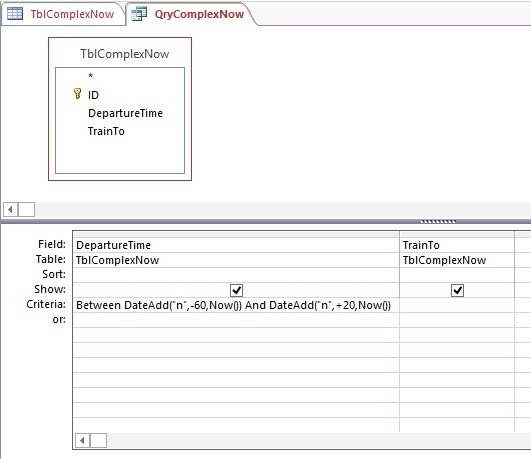 time restricted complex now query setup