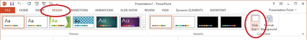 powerpoint resolution slide size button