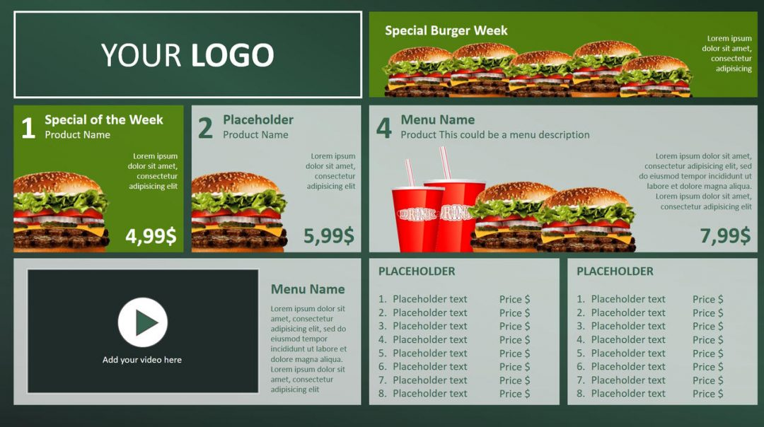 Digital Menu Board PowerPoint Design