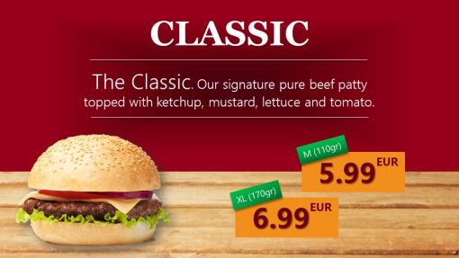 Premium PowerPoint Template for hamburger and take-away restaurants - classic hamburger