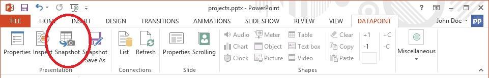 datapoint snapshot button in menu