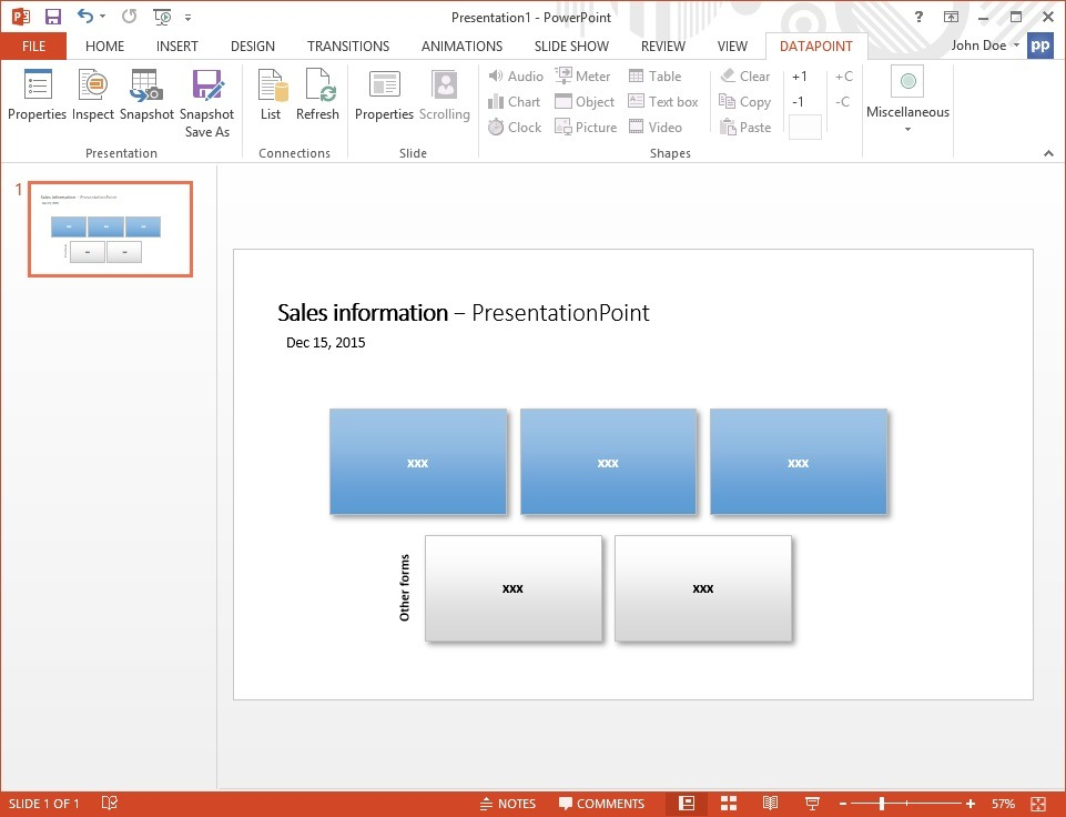 sql presentation add slide and textboxes