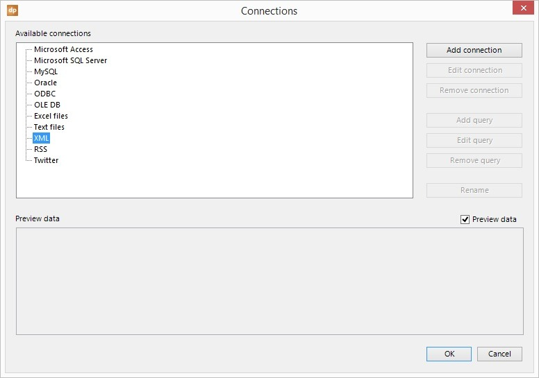 select xml node and add connection