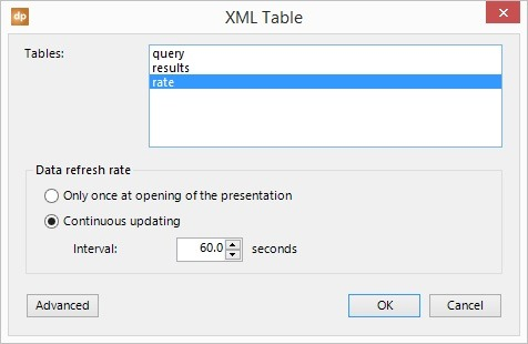 select a table from the xml data file