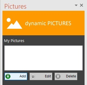 pictures folder list with add, edit and delete buttons
