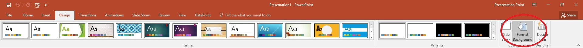 powerpoint design menu format background button
