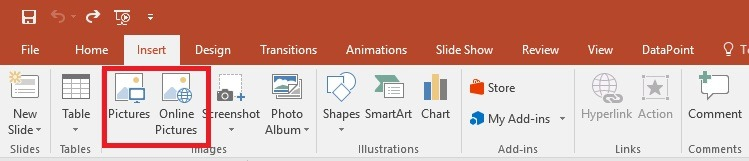 powerpoint insert pictures menu option
