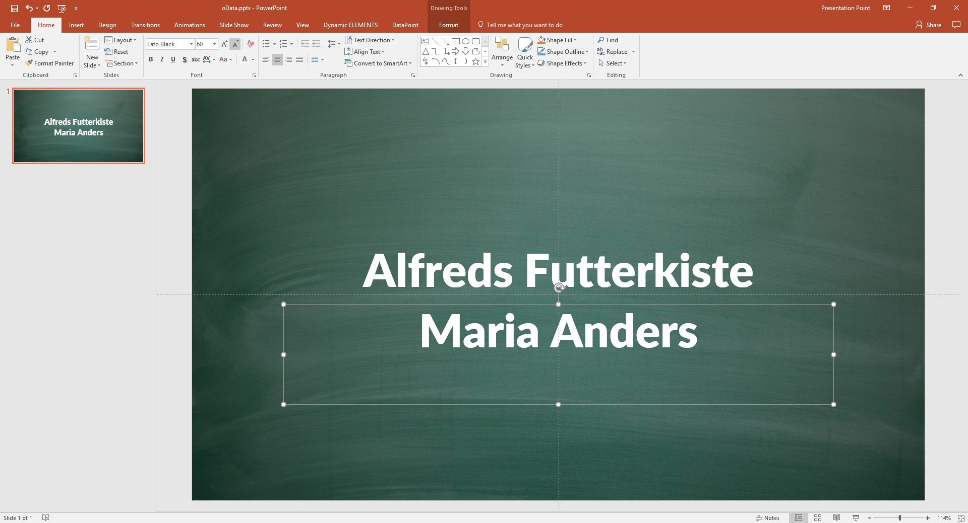 powerpoint slide with linked odata information
