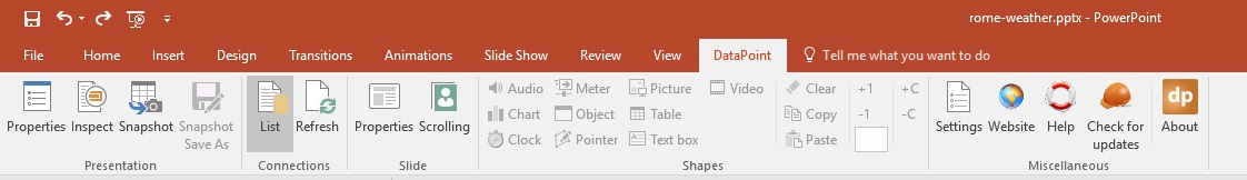 datapoint menu in powerpoint