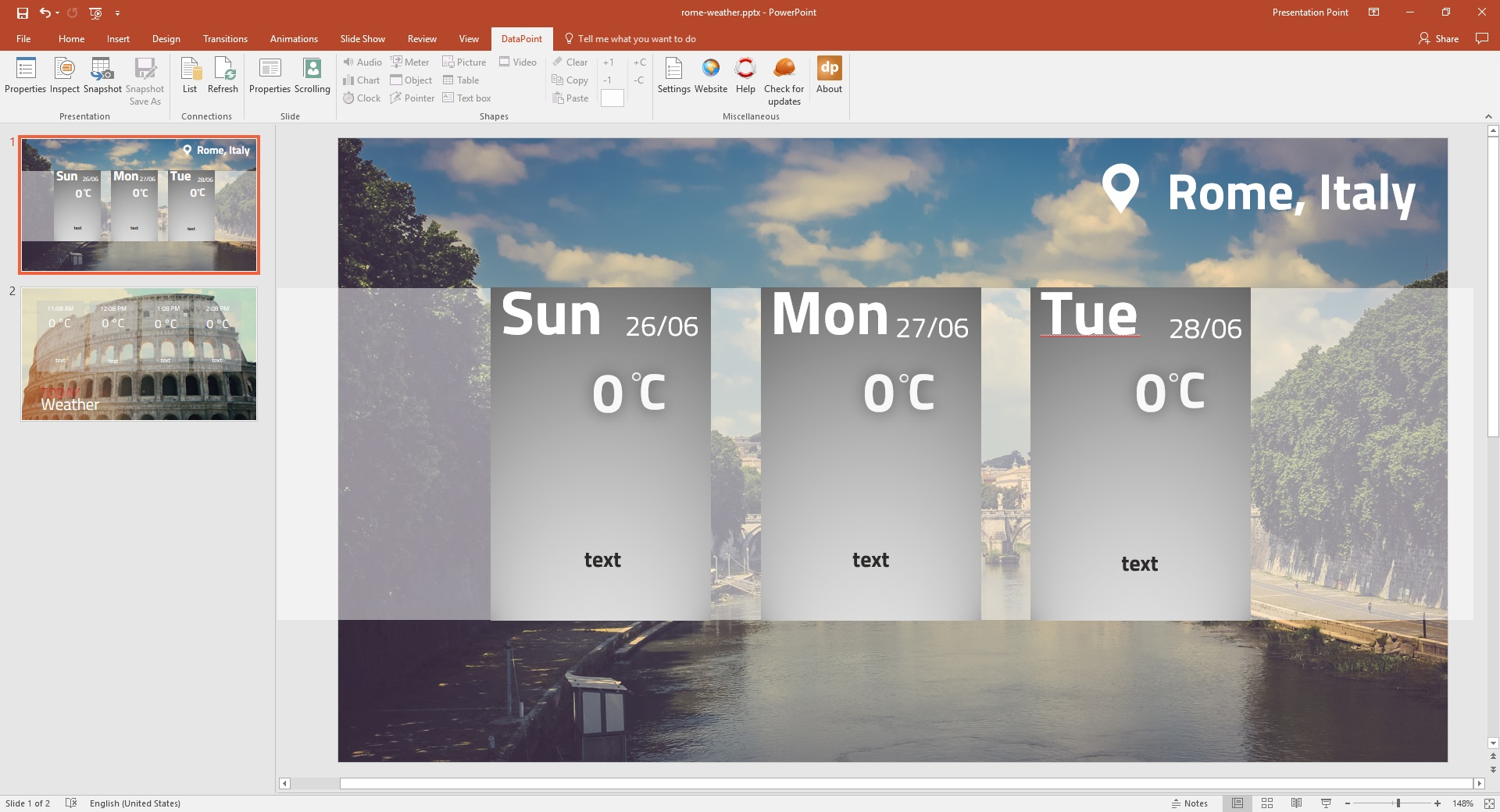 powerpoint presentation design for weather display