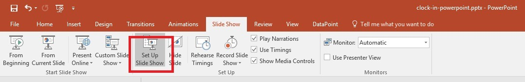set up powerpoint slide show to run forever