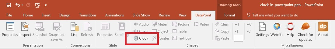 insert real-time powerpoint clock on powerpoint slide