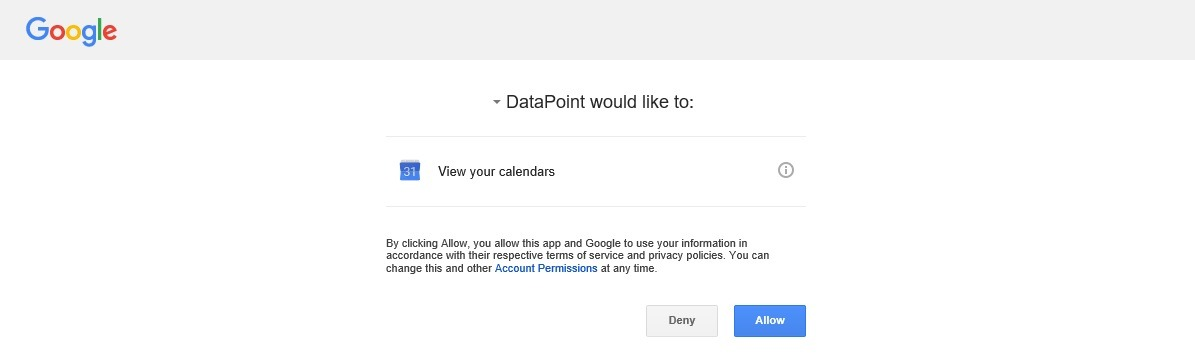 grant read permission on your google calendar