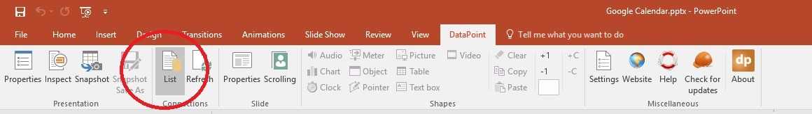 datapoint menu in powerpoint ribbon