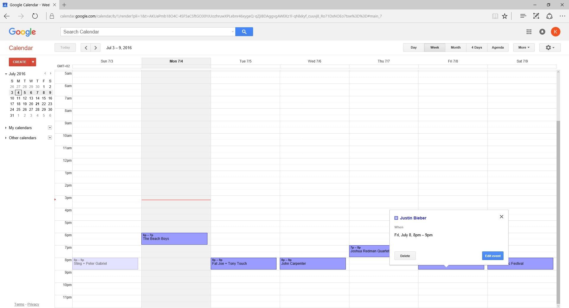 event software using google calendar
