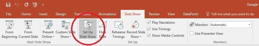 open slide show settings