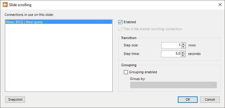 rss scrolling settings