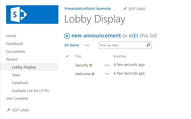 announcement list content on sharepoint
