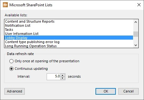 choose a sharepoint list